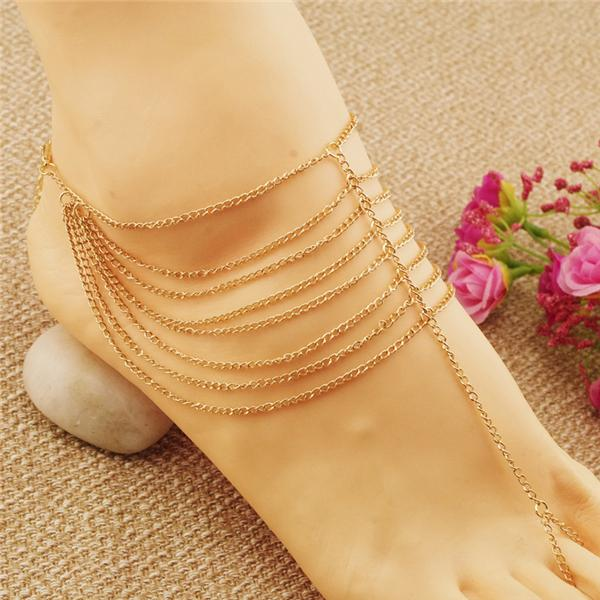 Anklets 2016 Gold Indian Anklets New Beach Wedding Barefoot Sandals Multi Tassel Toe Ring Chain Link Foot Jewelry Anklet Chain Women Gift