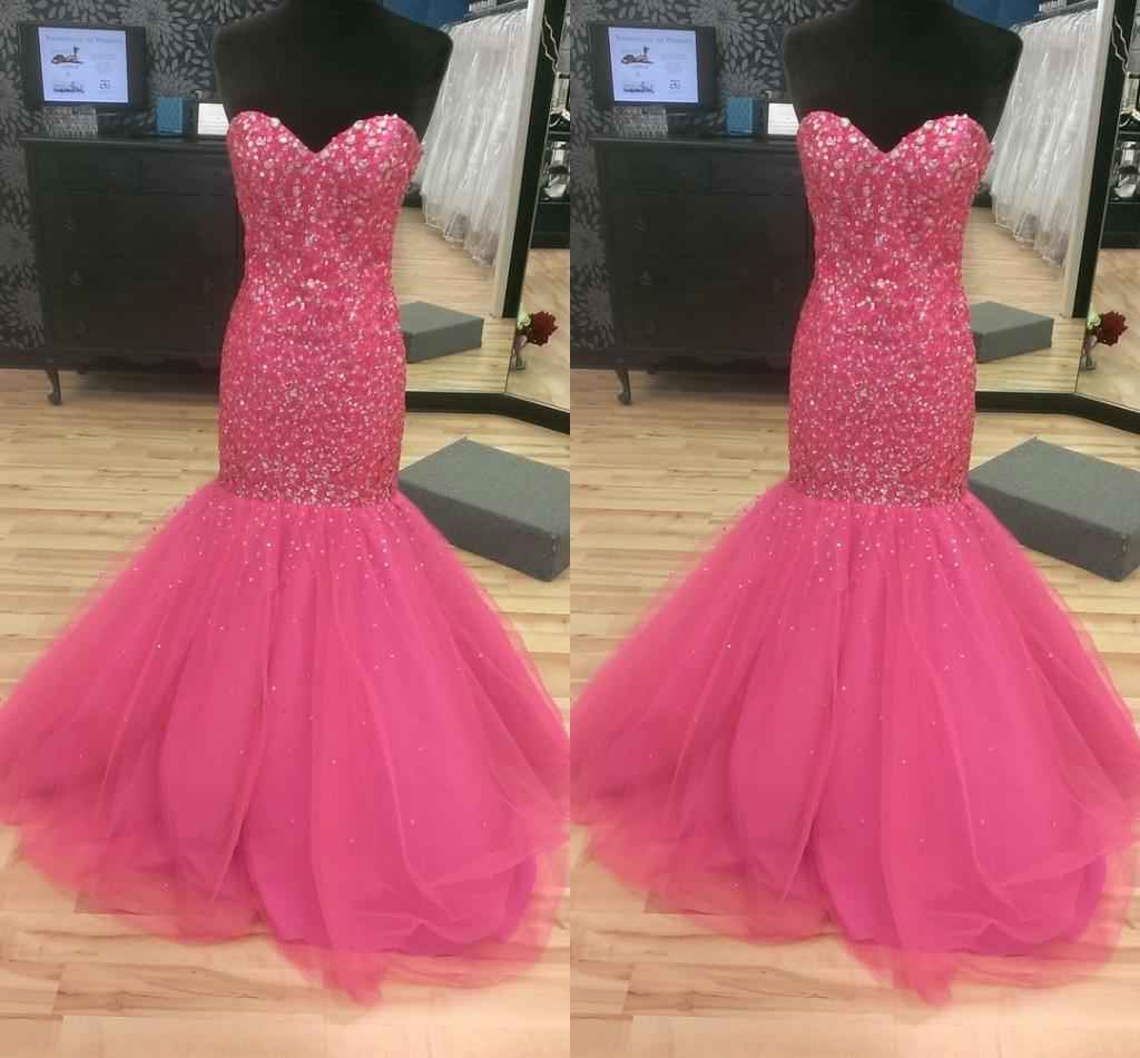 atemberaubende hot pink strass mermaid pageant prom kleider schatz kristall  perlen pailletten tüll lange günstige abendkleid formelle kleid