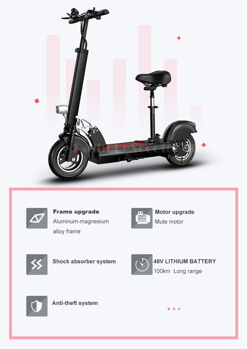Daibot Folding Electric Bike 48V Two Wheel Electric Scooters 10 inch Motor 500W Portable With Seat Electric Scooters Adults (17)