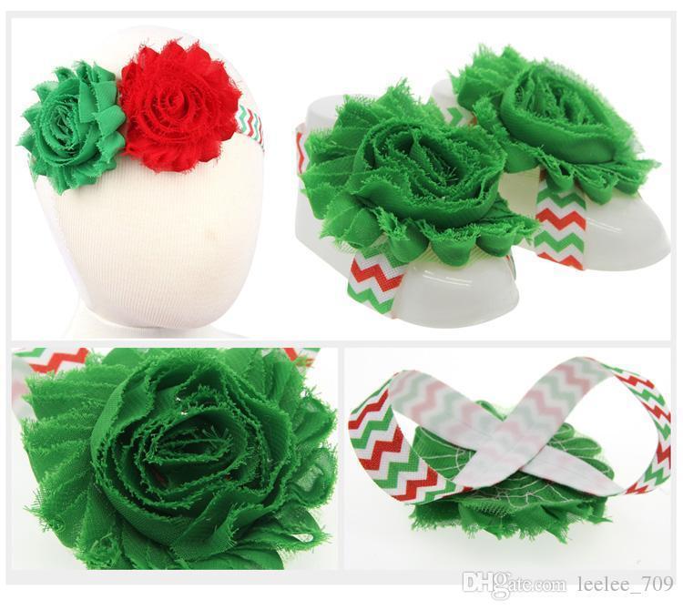 Yeni Varış Çocuklar Çiçek Sandalet Bebek Yalınayak Sandalet Ve Hairband Set Noel Bebek Elastik Saç Bantları Bebek Çocuk Bantlar Kfa17