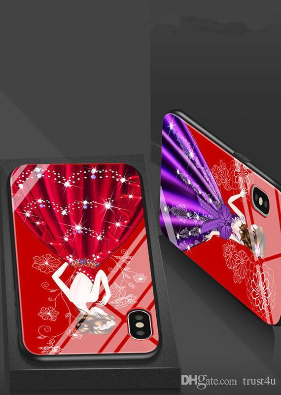 For Iphone 8 Phone Cases Girl Goddess Tempered Glass All Inclusive Silicone Cartoon Girl Mobile Phone Case For Iphone 6 7 6s Plus