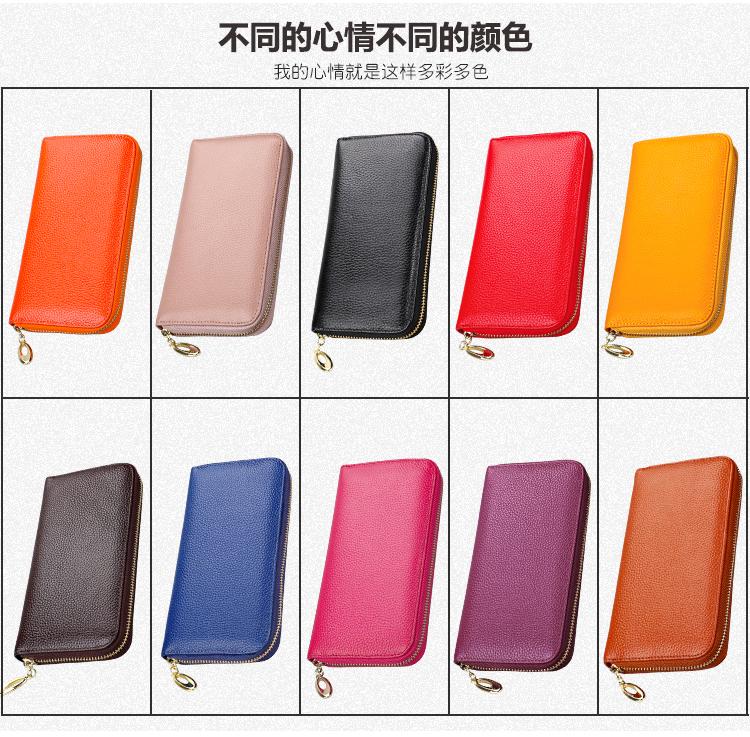 Portefeuilles en cuir véritable pour les femmes et les hommes de luxe à long embrayage à glissière téléphone RFID haute capacité bourse porte-monnaie avec porte-cartes