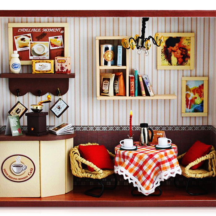 Wooden Coffee Shop DIY Kit Miniature Doll House With Dining Table LED Light For 8-12 Years Kids Christmas Gift Toys