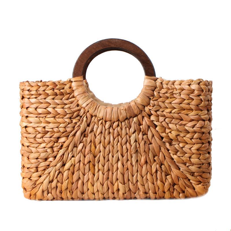 regalos Bolsa de almacenamiento grande de papel de flor tejida compras hecho a mano para viajes hogar verano vintage bolso de mano de paja bohemia bolso de playa