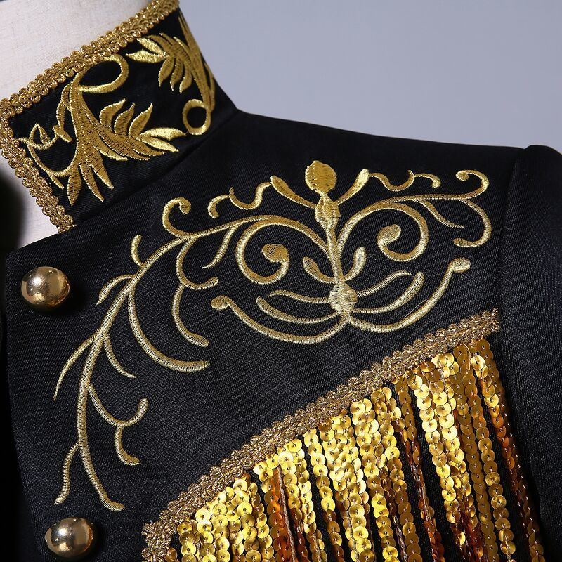 Pyjtrl Men's Gold Silver Twinkle Tassel Sequins Embroidery Double Breasted Stage Singer Suit Jacket Men Slim Fit Blazer Designs Y190417