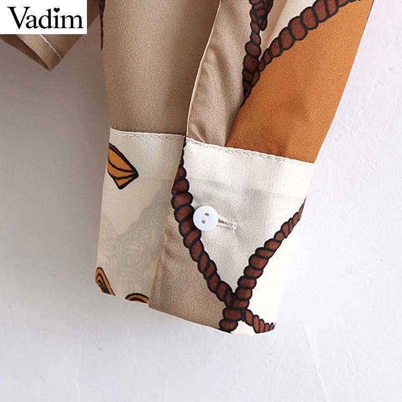 Vadim Women Sweet Chain stampa camicetta tasca manica lunga pieghettato camicie vintage femminile Casual Wear Top Blusas La944 MX190712
