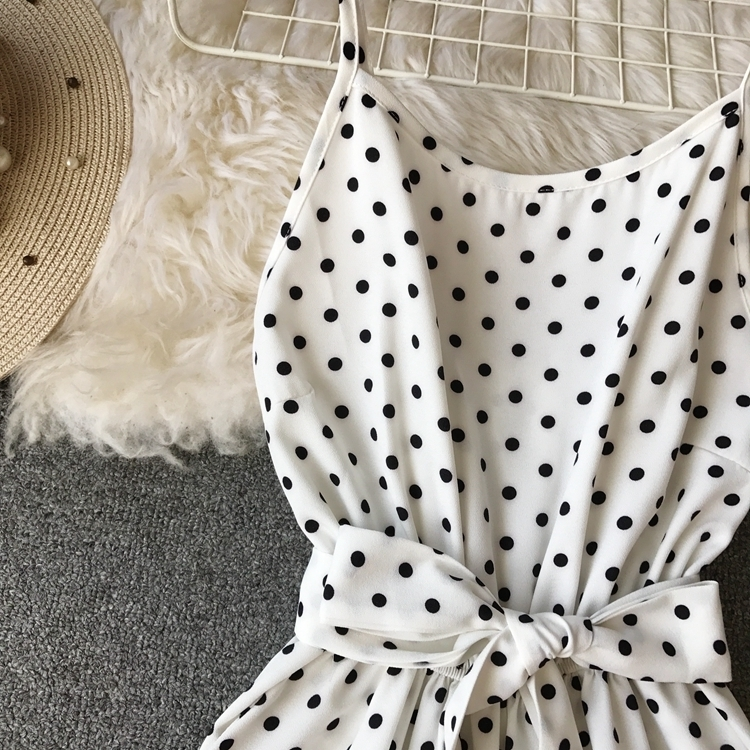 Alphalmoda 2019 Spring Ladies Vocational Casual Jumpsuit Mid-calf High Waist Women Suspended Polka Dot Rompers Y19060501