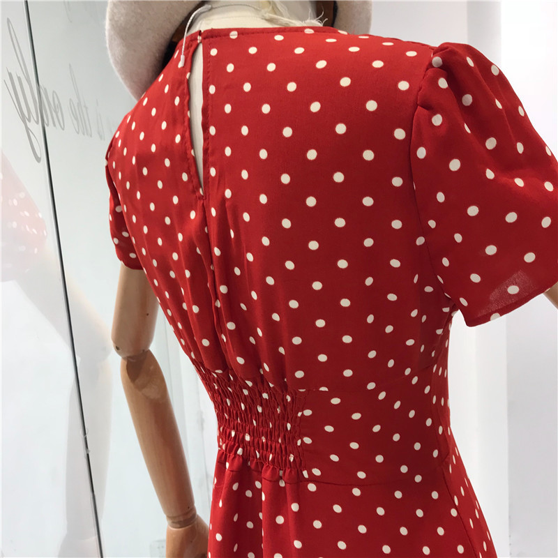 1fbea9d62e0b4 2019 Flectit Vintage 80s French Style Polka Dot Button Up Midi Short Puff  Sleeve High Waisted Retro Holiday Dress Women Q190506 From Yiwang02, $25.48  ...