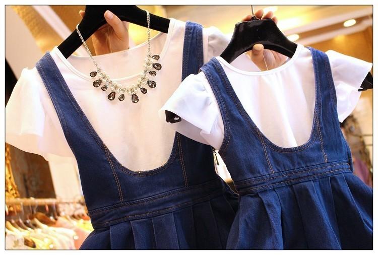 Mother Daughter Dresses Family Matching Clothes Set T Shirt+denim Skirt Jeans Dress Mommy Mother And Daughter Me Clothes J190508