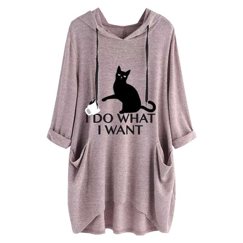 Artı boyutu Kapüşonlular Kadınlar I Do I Harf Kedi Ve Kupa Kulak Kalıbı Cep Boy Sweatshirt Sonbahar Kawaii Pullover Baskı Want