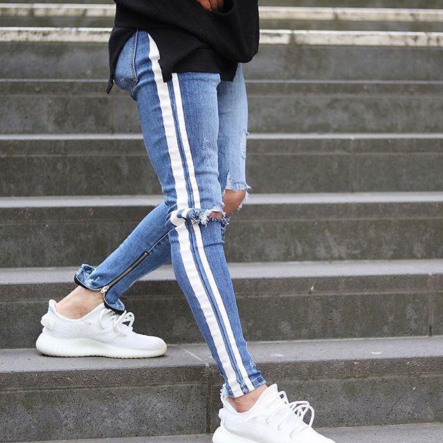 Mens American Style Blue Ripped Side Striped Jeans Autumn New Vogue Fashion Denim Pants Slim Pencil Pants