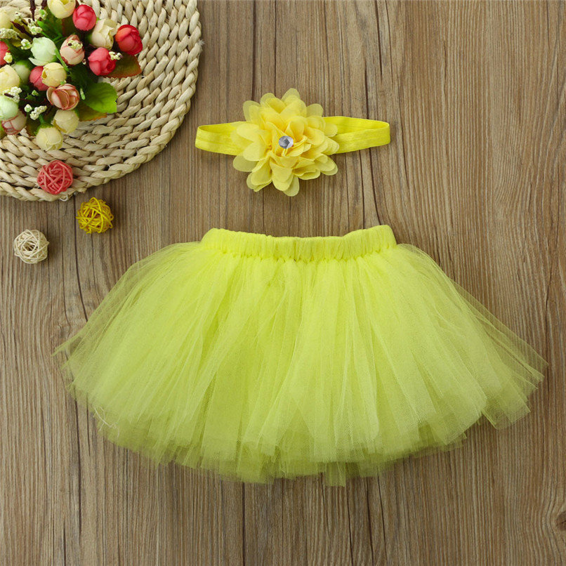 5 Color Summer Girls Skirt Toddler Baby Newborn Solid Lace Skirt+Floral Headband For Photo Prop Suit For 0-4M M8Y08 (13)