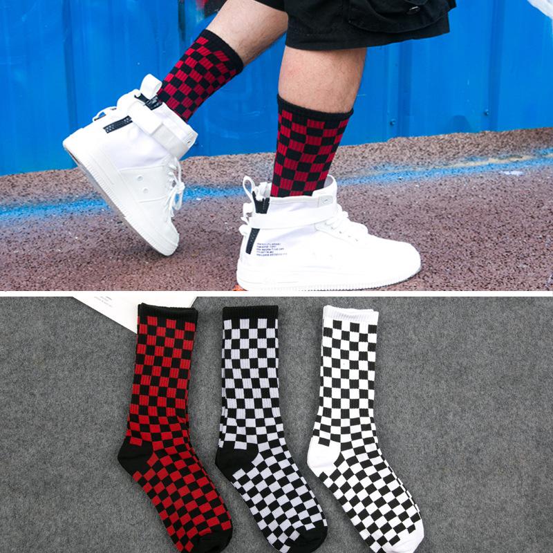 Red Tartan Plaid Pattern Socks Mens Womens Casual Socks Custom Creative Crew Socks