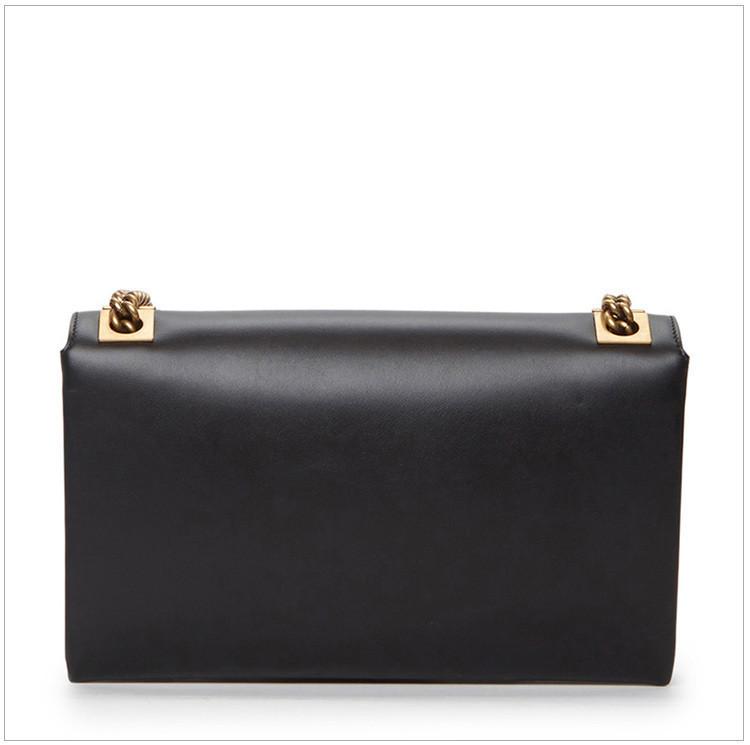 /  [Ni Ni with paragraph] ladies black leather fashion shoulder Messenger bag