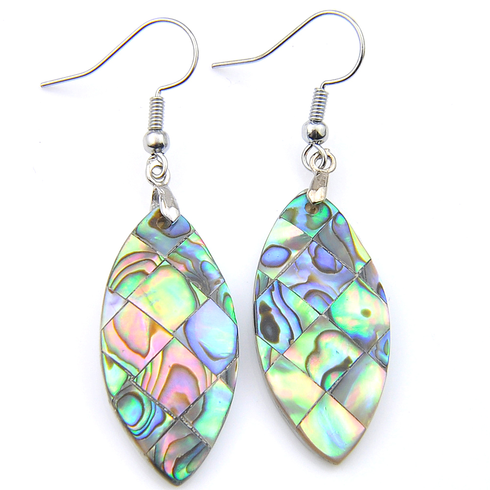 Natural Paua Abalone Shell silver Hook Dangle Dragonfly Teardrop Boucles d/'oreilles 1 paire