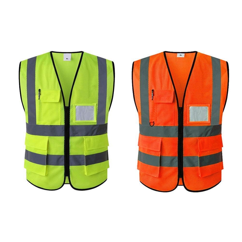 ONEVER Riflettente gilet ad alta visibilit/¨/¤ di avviso di sicurezza Gilet neon giallo strisce riflettenti Gilet