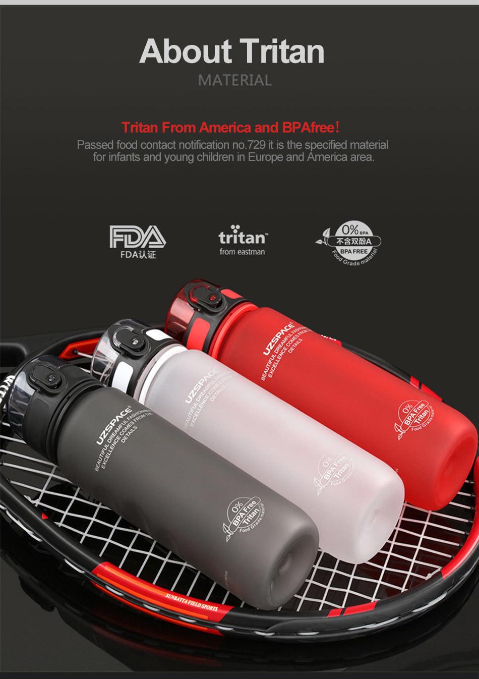 UZSPACE 0%BPA Plastic Sports Water Bottles Portable Travel Outdoor Cycling Drink Fruit protein Shaker My tea bottle 500ml 950ml_07