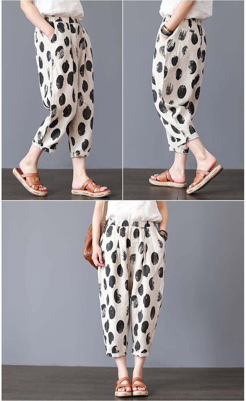 Plus Size 4XL Cotton Linen Harem Pants Trousers Women Vintage Print Slim Casual Elastic High Waist Cargo Radish Pants Women 20194