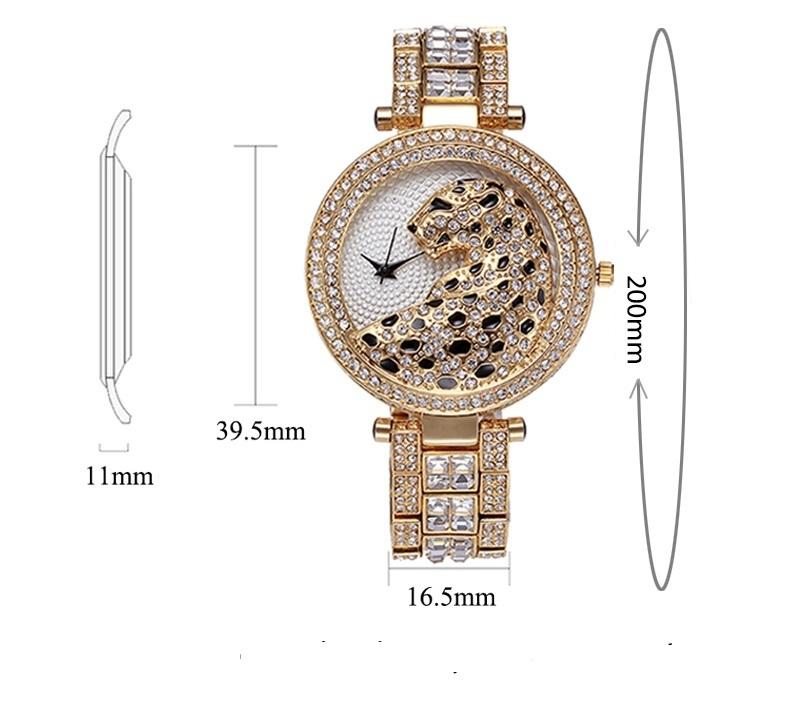 MISSFOX 30m Life Waterproof Gold Women Quartz Watch Fashion Bling Casual Ladies Watches Crystal Diamond Leopard for Women Clock (9)
