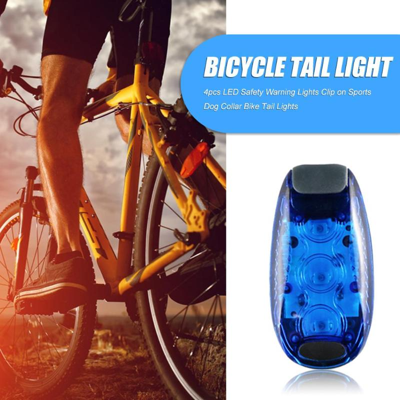 4PCS LED Silicone Mountain Bike Bicycle Front Rear Lights Push Cycle Clip Lamps