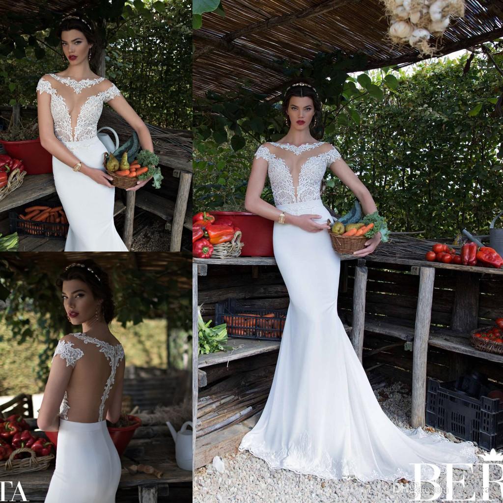 Berta Crew Neck Lace Chiffon Mermaid Wedding Dresses 2016 Spring Summer Sheer Cap Sleeves Sheer Back Sweep Train Beach Bridal Gowns BA0260