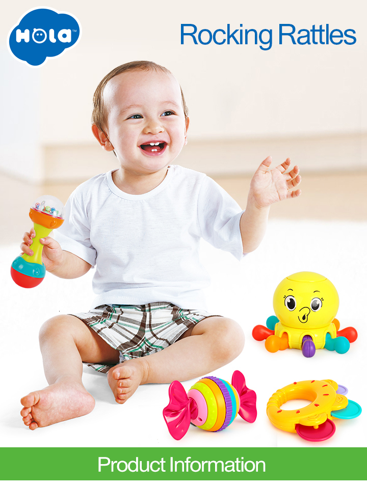 10PCS//Lot Baby Toys Musical Instrument Colorful Infant Animal Handbell Rattle