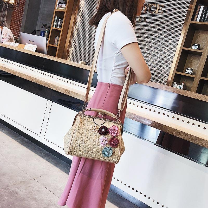 Women Pearl Handbag INS Popular Female Summer Flower Straw Bag Lady Fashion Shoulder Bag Travel Beach Woven Crossbody Bag SS7220 (13)