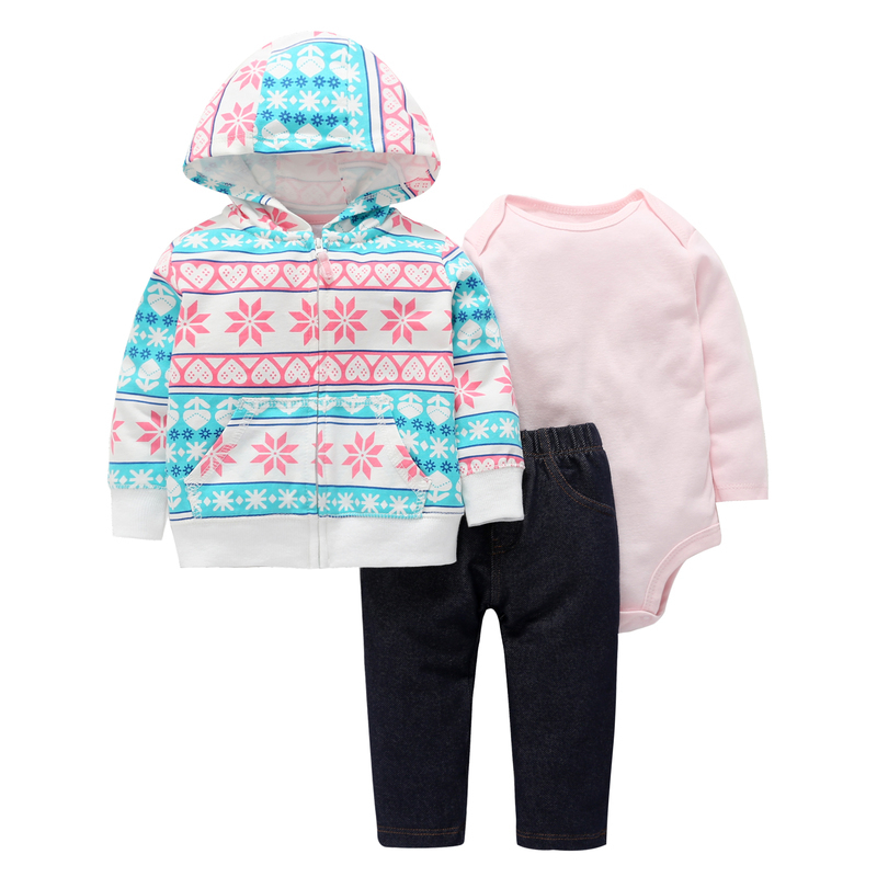 6-24m baby clothes cute geometric hoodies pocket+pink rompers+pants autumn winter 3PCS outfit 2018 baby boy girls clothing set