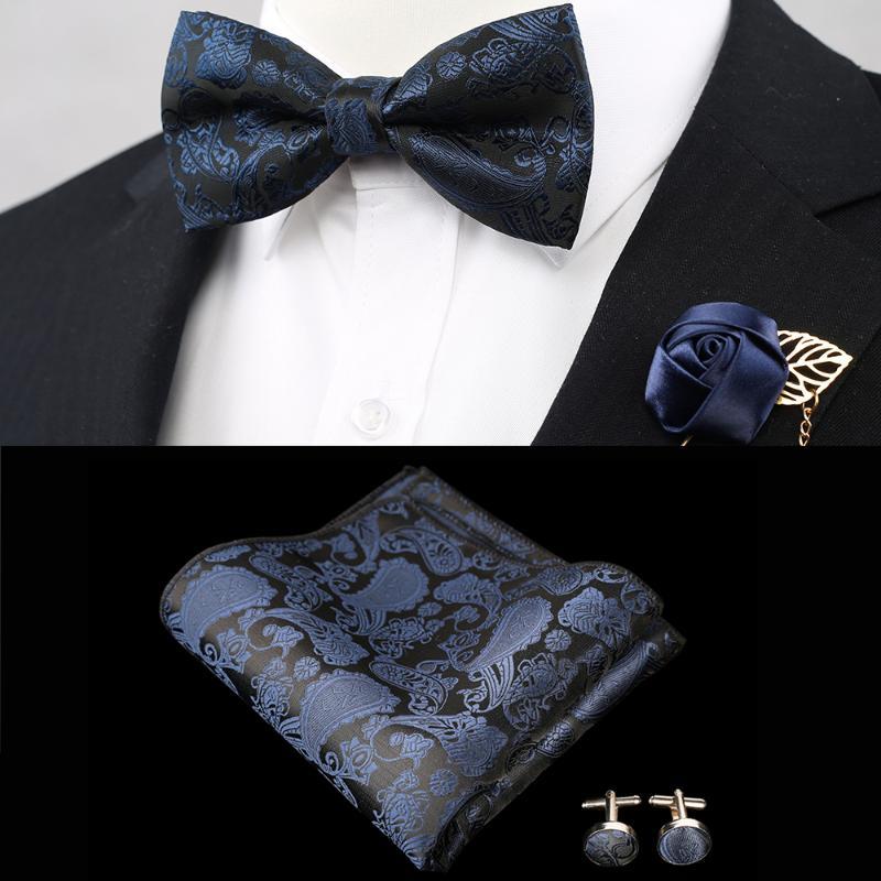 3pcs set Men/'s Cummerbund And Self Tie Bowtie Pocket Square Hanky Wedding Formal