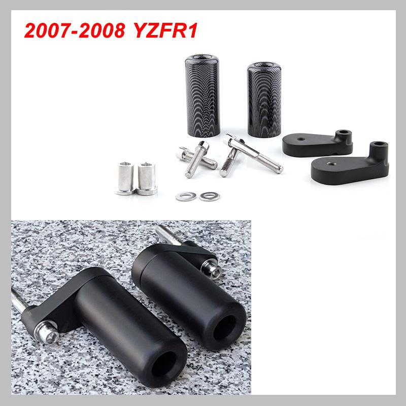 No Cut Frame Slider Protector de ca/ída para 2007/2008/Yamaha YZF R1/YZF-R1/carbono