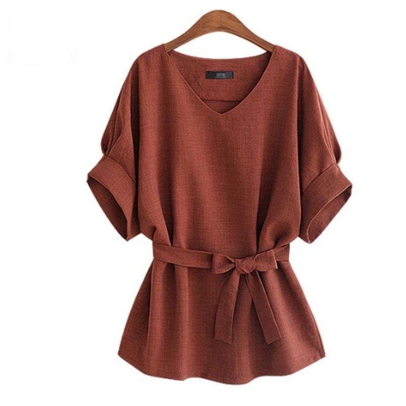 -Summer-Women-Shirts-Linen-Tunic-Shirt-V-Neck-Big-Bow-Batwing-Tie-Loose-Ladies-Blouse