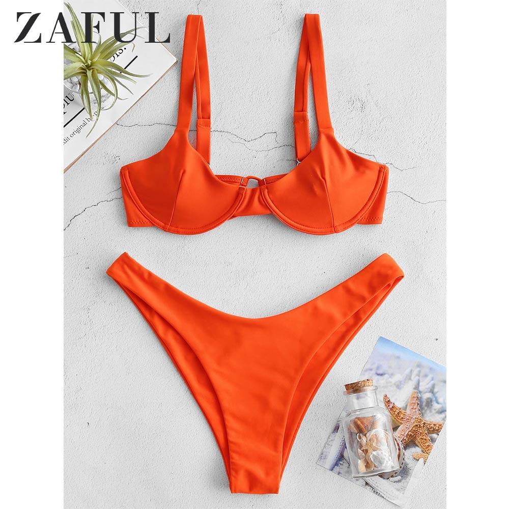 Reggiseno Pushup Criss Croce Floral Swimwear ZAFUL Bikini Set Imbottito Costume da Bagno da Donna con Spalline Spaghetti