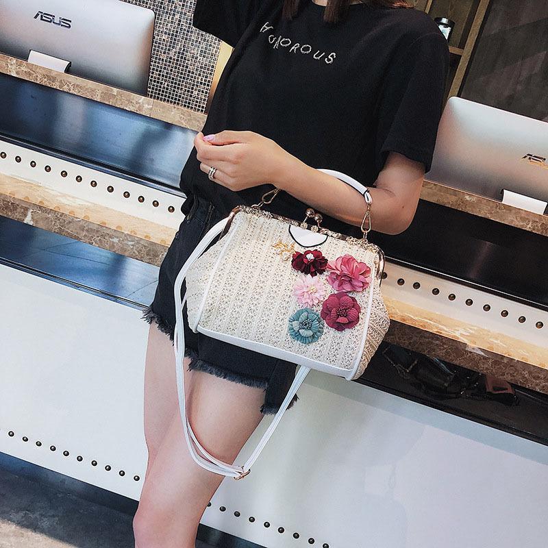 Women Pearl Handbag INS Popular Female Summer Flower Straw Bag Lady Fashion Shoulder Bag Travel Beach Woven Crossbody Bag SS7220 (6)