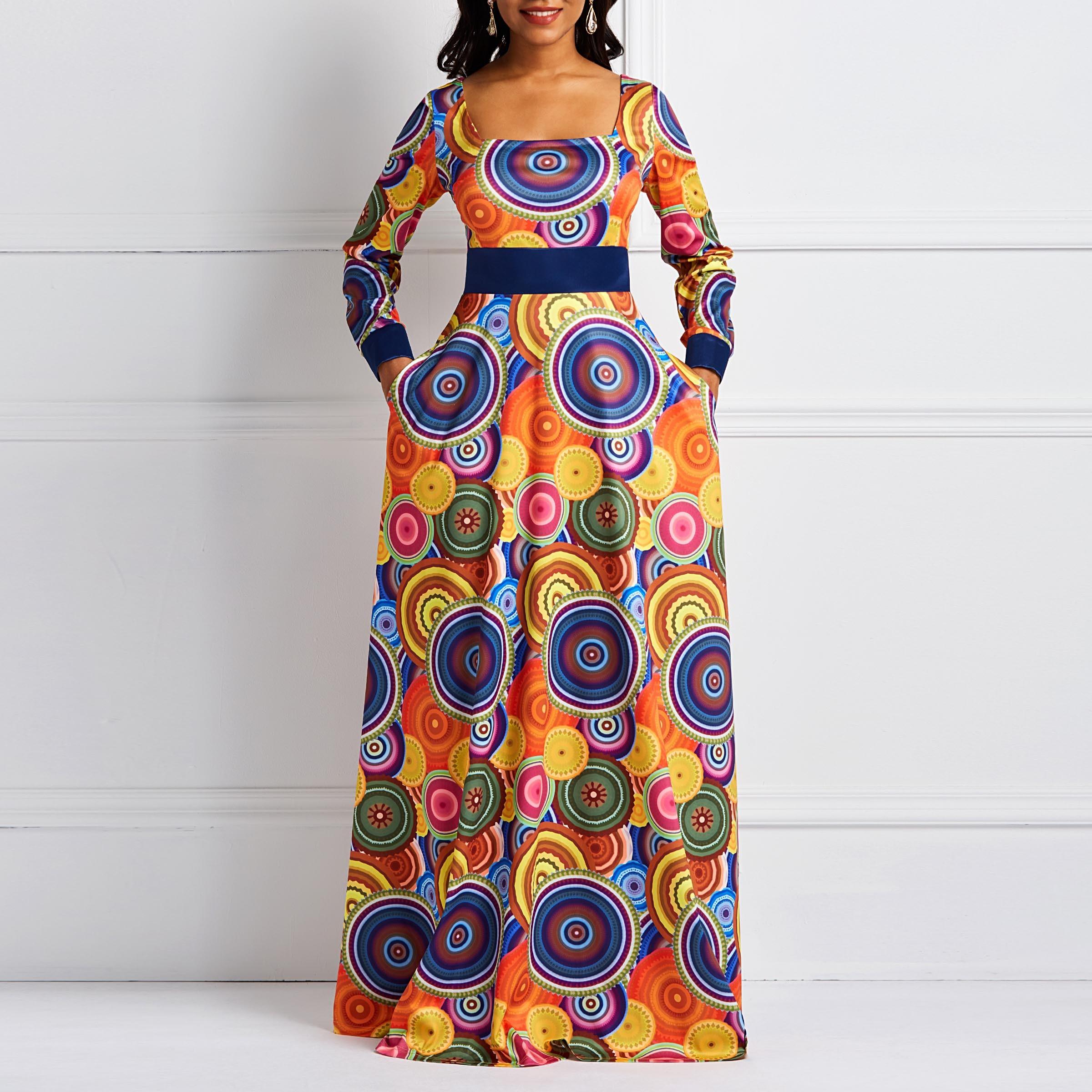 Großhandel Frauen Maxi Kleider Elegante Beiläufige Aline Square Neck Hohe  Taille Geometrische Farbblockdruck Weiblichen Herbst Orange Party Süße  Kleid
