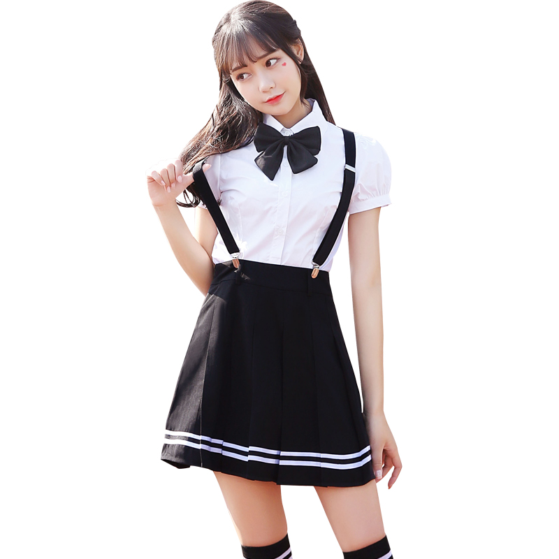 Girls JK High School Uniform Short Sleeve White Button down Blouse Top Shirt Cos