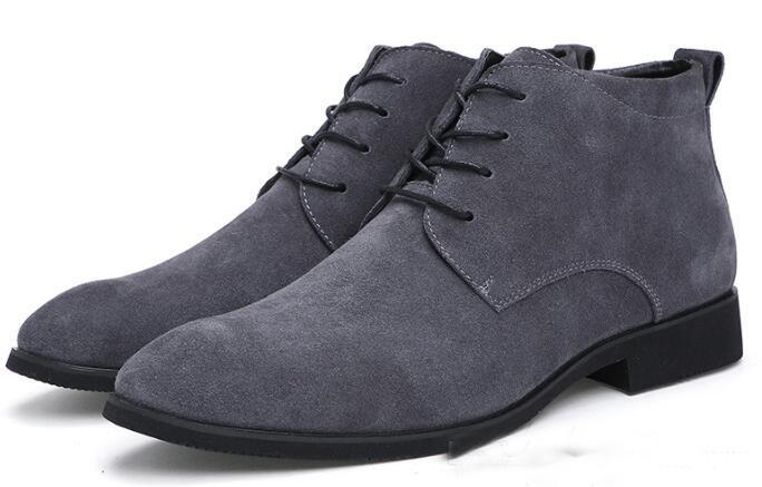 Men/'s Winter Plus Velvet Warm Leather Shoes Ankle Boots Business Casual Shoes
