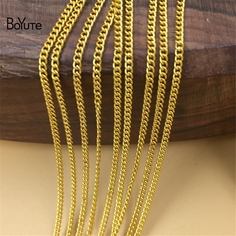 BoYuTe (100 MetersLot) Metal Iron 1.7MM Width Tassel Chain Bronze Gold Silver Plated Diy Hand Made Chain for Jewelry Making (2)