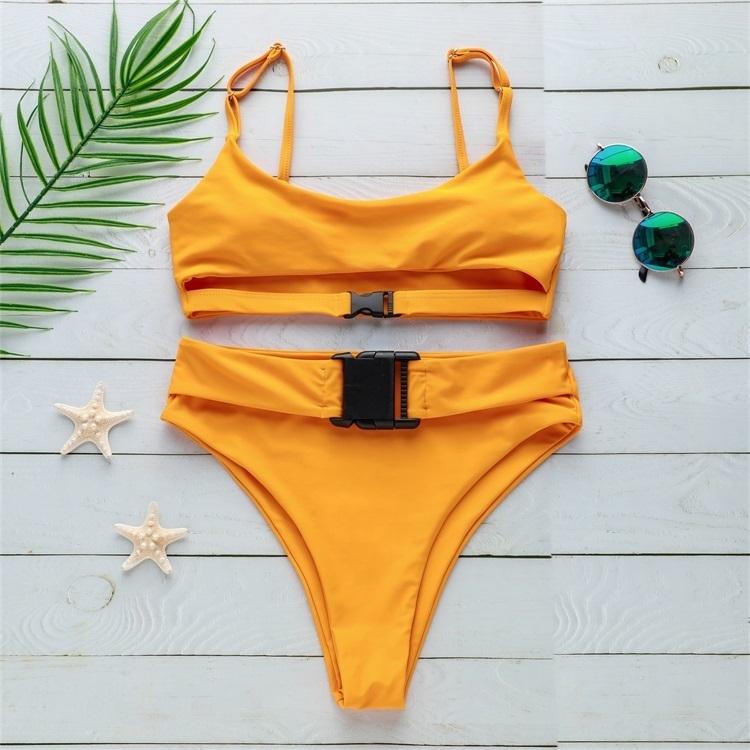 Neon Red Green Bandage Bikini Set Sport Bh Bathing Suits Solid Push Up Badmode Women High Leg Bathing Suits Biquinis