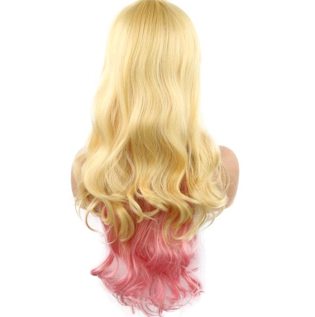 Cartoon cos wig Lolita role playing rainbow colorful gradient wig cosplay video wigs 1 long