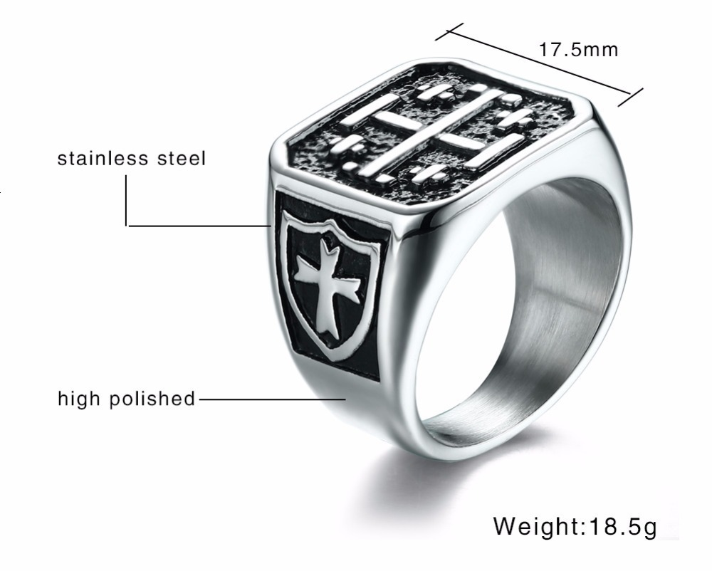 Jerusalem Cross Medieval Signet Ring for Men Solid Stainless Steel Vintage Jewelry Anel Aneis Masculinos Anillos 12