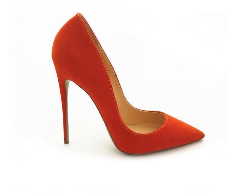 Sexy2019 Pop Chaussures En Daim En Cuir Femmes Pour Le Mariage Pointu Orange Talons Chaussures Sandales