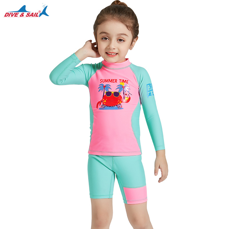 DiveSail kids girls swimsuit 2pcs set UV 50+ Children rashguard Beachwear Surf Bathing Swimming Costume 3-10Y