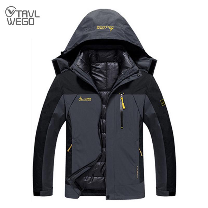 Men 3 in 1 Jacket Softshell Jackets Hooded Waterproof Windbreaker Outdoor Softshell Jackets Camping Hiking with Fleece Winter Coats Skiing Trekking Big Size S to 7XL