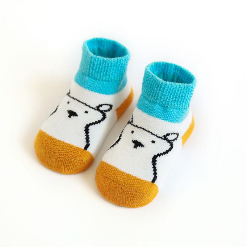 3 Paire Enfant Bébé Garçon Fille Cartoon animaux anti-dérapant Tricot Chaud Chaussettes