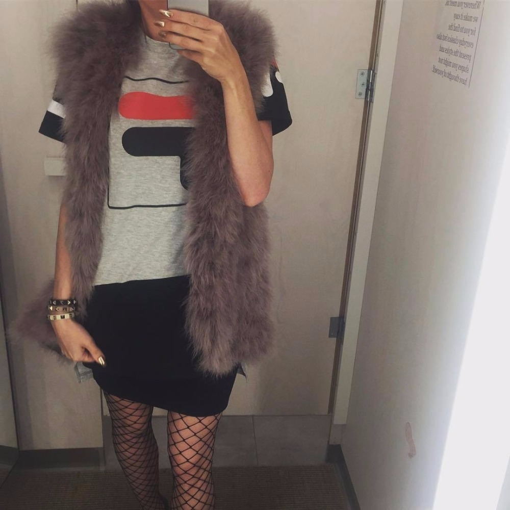 18 Fluffy feather fur vest long style