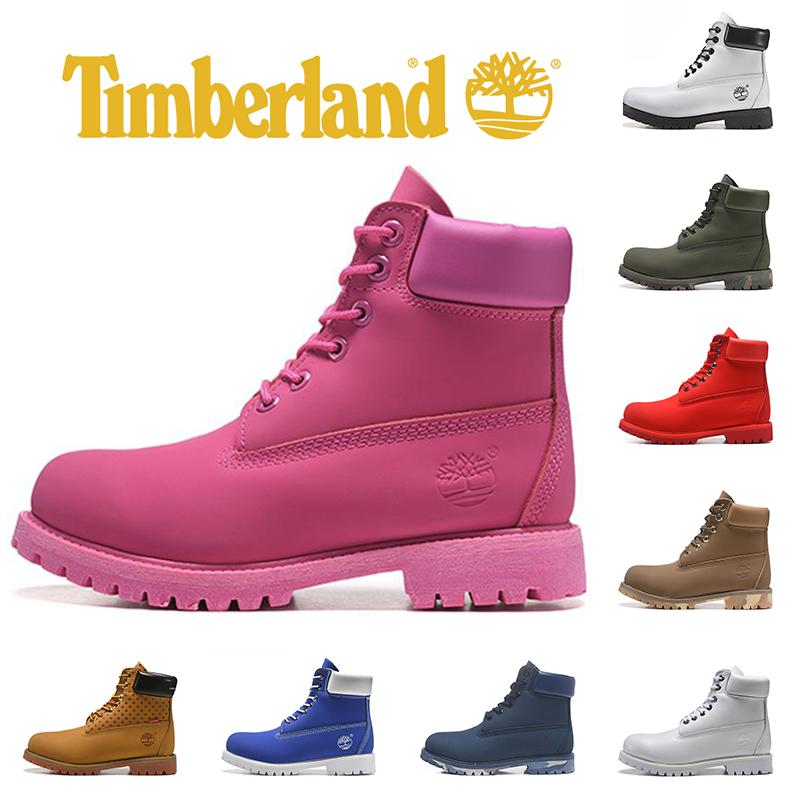 Timberland Bottes Marque Femmes Rose design de luxe Hommes Jaune Martin bottes en cuir noir Triple Camo baskets de sport de mode Bottes 36 45 Demi