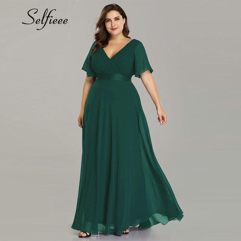 Plus size longo dress para festa de casamento para a mulher robe femme new elegante a line v neck manga curta summer beach dress boho q190409