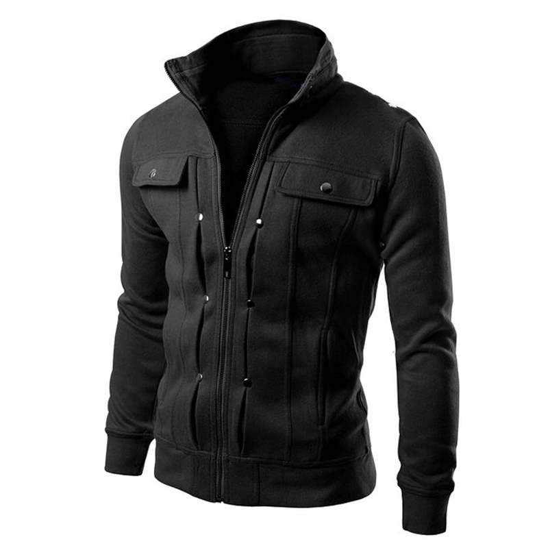 Autumn Winter Warm Outwear 4XL Men Fleece Hoodies Stand Collar Button Zipper Sweatshirt Jacket Men's Slim Fit Coat