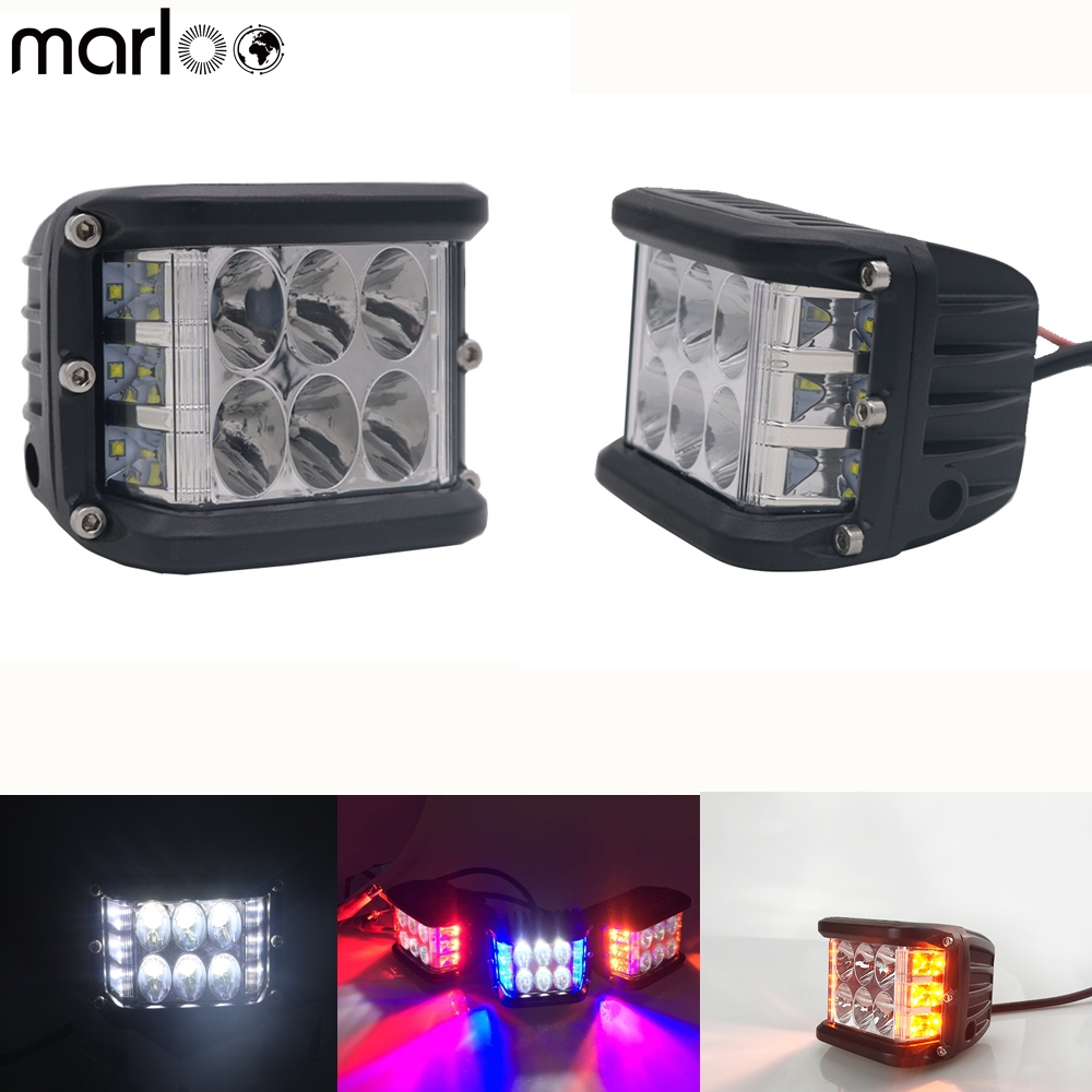 "4"" 90W Flashing LED Work Light Bar Pods Dually Side Shooter Cube Lights For Truck UTV ATV SUV Boat Jeep Motorcycles"