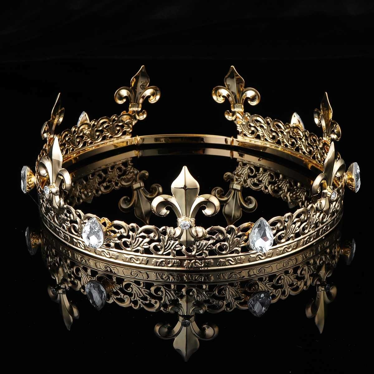 Uomo imperiale medievale re d'oro corona rotonda completa diadema di cristallo strass regolabile Fleur De Lis Decor costumi da festa Diadem C19022201